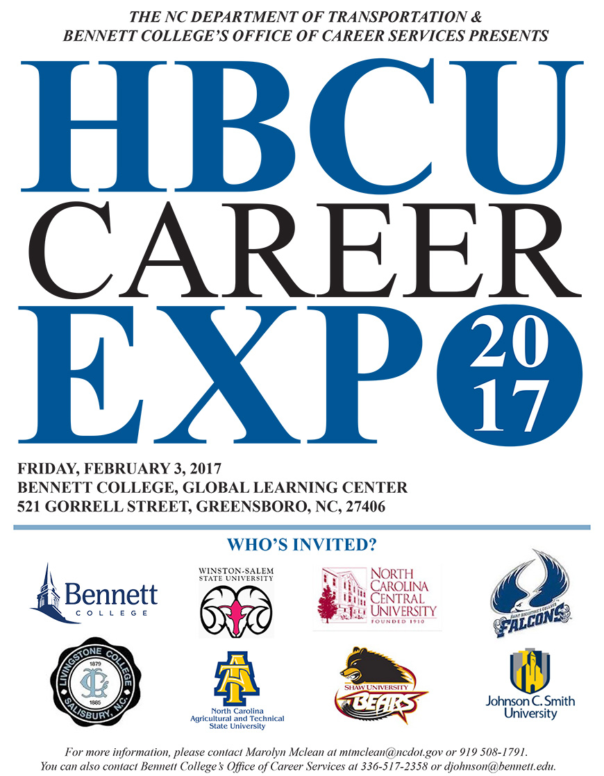 The NC Department Of Transportation And Bennett Collegeu0027s Office Of Career  Services Presents HBCU Career Expo 2017.