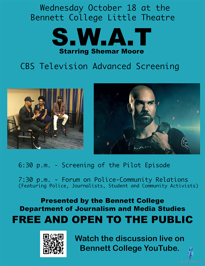 """Bennett College to host screening tonight of new CBS series """"S.W.A.T."""", hold community forum"""