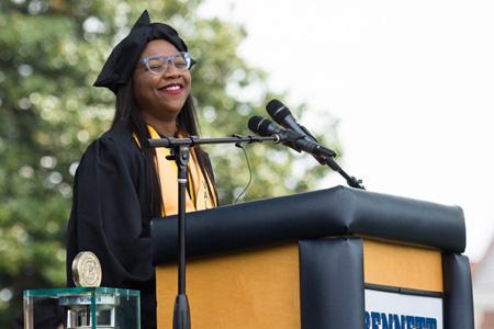 Valedictorian Shani McMichael and Senior Class President Joy Bullock give inspiring speeches