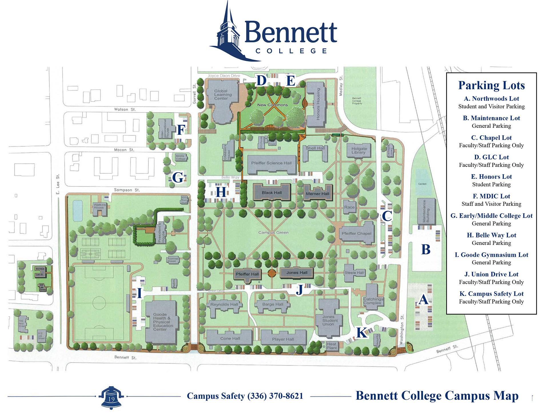 bennett college campus map Map Bennett College bennett college campus map
